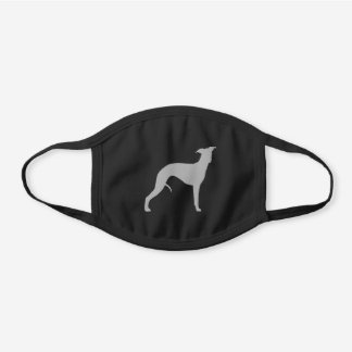 Grey Whippet Dog Breed Silhouette Black Cotton Face Mask