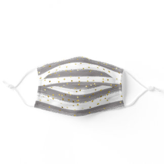 Grey & White Stripes with Gold Accents Adult Cloth Face Mask