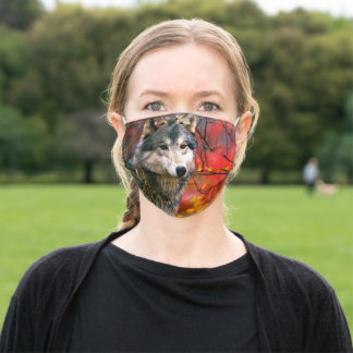 Grey Wolf in Beautiful Red and Yellow Foliage Adult Cloth Face Mask