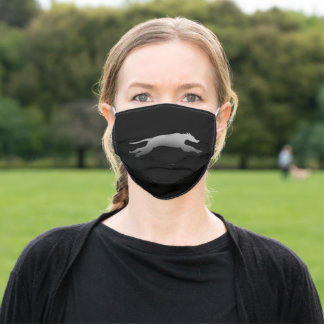 Greyhound speed silhouette adult cloth face mask