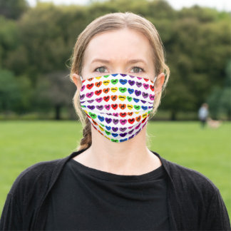 Greyhounds Rainbow Hearts Silhouettes Adult Cloth Face Mask