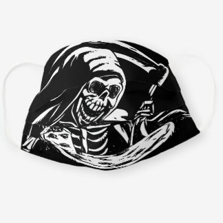 Grim reaper eating pizza - black and white cloth face mask