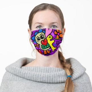 Grimacing Monsters Doodle Adult Cloth Face Mask