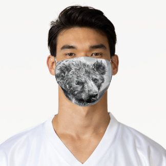 Grizzly bear portrait adult cloth face mask