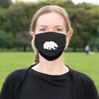 Grizzly  bear  silhouette adult cloth face mask
