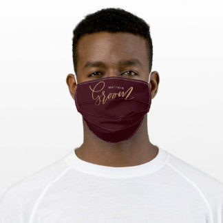 Groom Wedding Brush Script Gold & Burgundy Adult Cloth Face Mask
