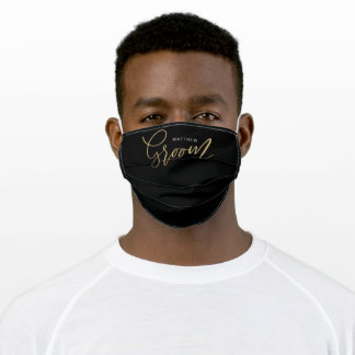 Groom Wedding Brush Script Gold Typographic Black Adult Cloth Face Mask