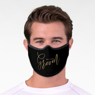 Groom Wedding Brush Script Gold Typographic Black Premium Face Mask