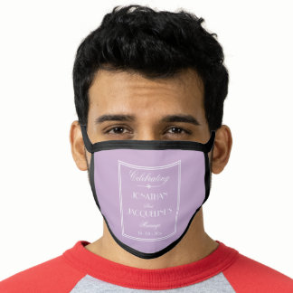 Groom Wedding Custom Elegant Lilac White Black Face Mask