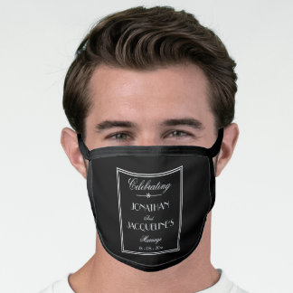Groom Wedding Customized Elegant Black And White Face Mask