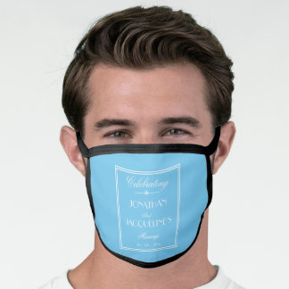 Groom Wedding Customized Elegant Blue White Black Face Mask
