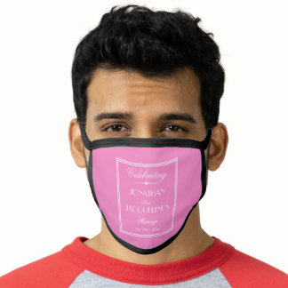 Groom Wedding Customized Modern Pink White Black Face Mask