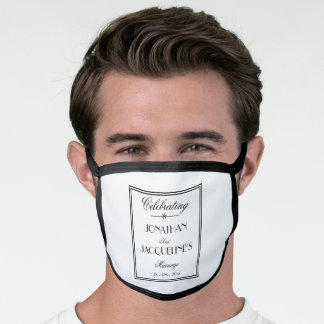 Groom Wedding Personalized Elegant Classy White Face Mask
