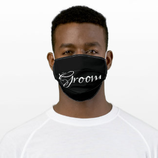 Groom White Script on Black Stylish Chic Adult Cloth Face Mask
