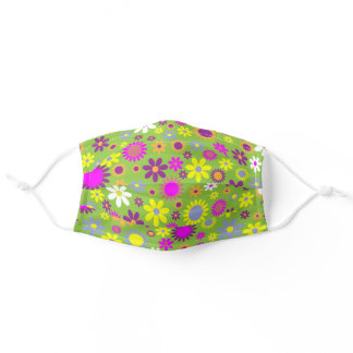 Groovy Funky Bright Green Hot Pink Floral Adult Cloth Face Mask