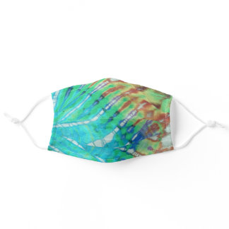 Groovy Hippie Boho Chic Teal Batik Tie Dye Pattern Adult Cloth Face Mask