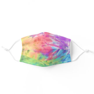 Groovy Hippie Boho Pastel Rainbow Batik Tie Dye Adult Cloth Face Mask