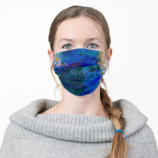 Grungy Blue,Green and Grey Abstract Adult Cloth Face Mask