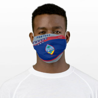 Guam Flag w/ Stars Stripes on Cool Grey Adult Cloth Face Mask
