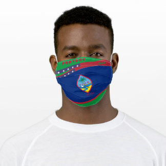 Guam Flag w/ Stars Stripes on kelly Green Adult Cloth Face Mask