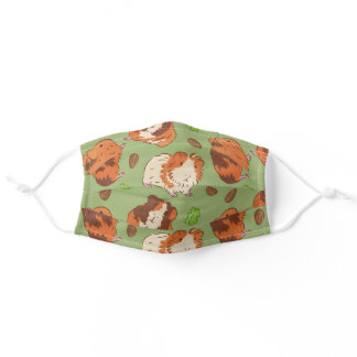 Guinea Pig Brown Green Pattern Adult Cloth Face Mask