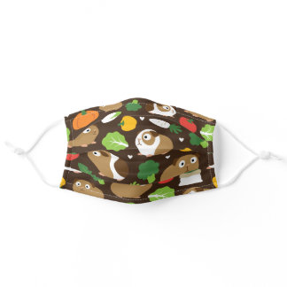 Guinea Pigs And Their Treats Seamless Pattern Adult Cloth Face Mask