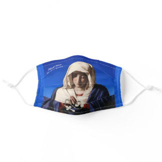 Hail Mary Full of Grace Rosary Women's Blue Adult Cloth Face Mask