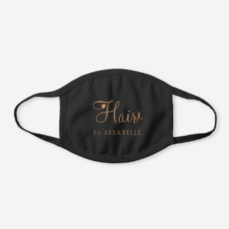 Hair salon hairstylist name gold typography script black cotton face mask