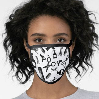 Hair Stylist/ Barber Tools Pattern Black and White Face Mask