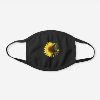 Hair Stylist Colorist Salon Owner Gift Sunflower Black Cotton Face Mask