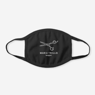 Hairstylist Hair Salon Employee Name Personalized Black Cotton Face Mask
