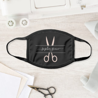 Hairstylist Scissors Hair Salon or Employee Name Face Mask