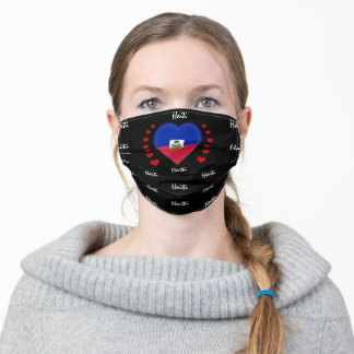 Haiti Flag & Heart, Haitian Flag fashion /sports Adult Cloth Face Mask