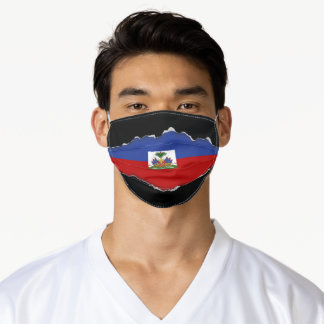 Haitian Flag | Faux Torn Out Look Adult Cloth Adult Cloth Face Mask