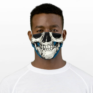 Half Head Skull Black White Drawing Blue Outline Adult Cloth Face Mask