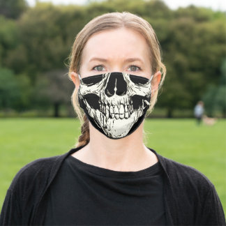 Half Head Skull Black White Drawing on Black Adult Cloth Face Mask