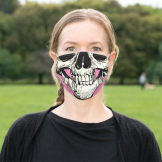 Half Head Skull Black White Drawing Pink Adult Cloth Face Mask