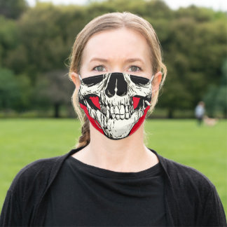 Half Head Skull Black White Drawing Red Background Adult Cloth Face Mask