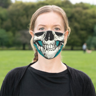 Half Head Skull Black White Drawing Teal Outline Adult Cloth Face Mask