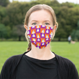 Halloween Boo Ghost Purple and Orange Squares Adult Cloth Face Mask