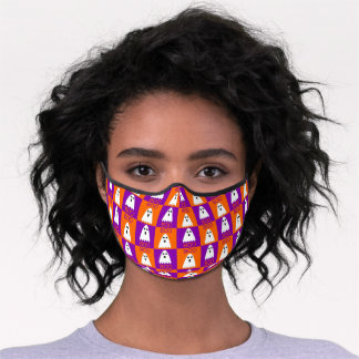 Halloween Boo Ghost Purple and Orange Squares Premium Face Mask