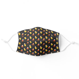 Halloween Chocolate Candy Corn on Black Reusable Adult Cloth Face Mask