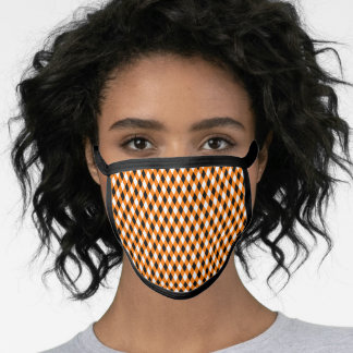 Halloween Orange Black Diamond Pattern Costume Face Mask