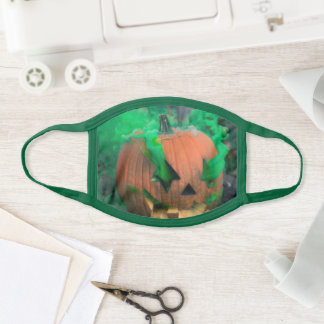 Halloween Orange Pumpkins in green smoke Face Mask