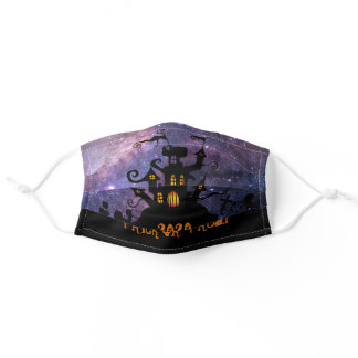 Halloween Personalized Haunted House Galaxy Adult Cloth Face Mask