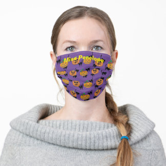 Halloween Pumpkins and Black Cats on Purple Adult Cloth Face Mask