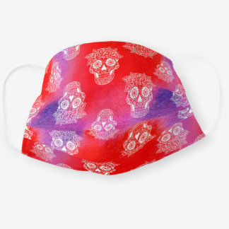 Halloween Witch Style Cute Sugar Skull Red Cloth Face Mask