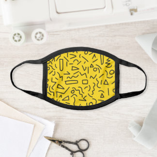 Hand Draw Black Yellow Geometric Memphis Pattern Face Mask