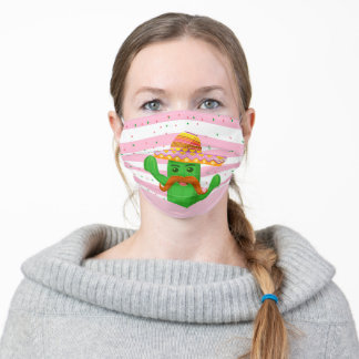 hand drawn cactus with stripes adult cloth face mask