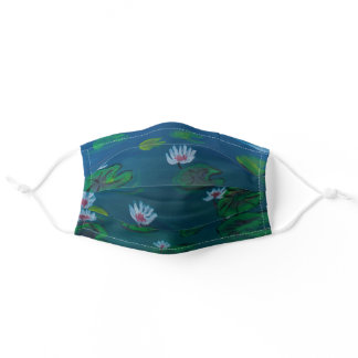 Hand Painted Water lilies Adult Cloth Face Mask